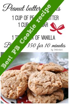Flourless Peanut butter cookies. Only 4 ingredients. Best PB cookie ever!