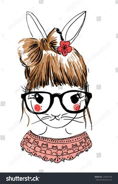 cute fashion illustration rabbit