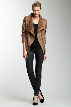 """Elie Tahari  Andreas Leather Jacket  Ribbed trim cowl neck  - Long sleeves  - Off-center hidden zip front closure  - 2 on-seam front pockets  - Top-stitched seams  - Approx. 23"""" length  $425.00"""