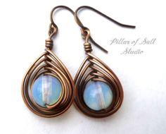 Wire wrapped earrings / wire wrapped jewelry by PillarOfSaltStudio
