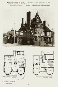 Victorian House Plans, Vintage House Plans, Antique House, Victorian Homes, Victorian Architecture, Historical Architecture, Architecture Plan, Residential Architecture, Second Empire