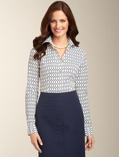 All items from Talbots. Chain-link blue and white patterned button-down top/blouse with a blue textured skirt. Completed with pearls. Gorgeous. Careerwear for the office. Professional dress for women to wear to work. Formal fashion for business professionals (consultants, etc.)