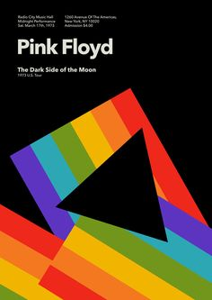 'The dark side of the moon' Pink Floyd At Radio City Music Hall in New York Gig Poster 1973.