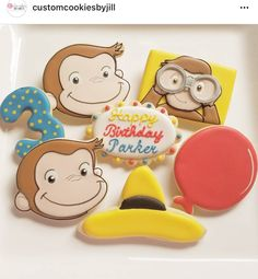 Curious George Party, Curious George Birthday, 1st Birthday Parties, 3rd Birthday, Disney Ideas, Birthday Cookies, Party Themes, Law, Invitations