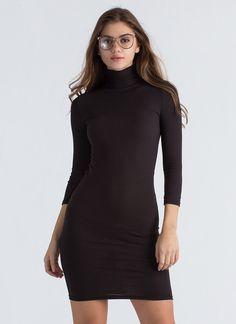 a52a089331 High On The List Ribbed Turtleneck Dress BURGUNDY OLIVE