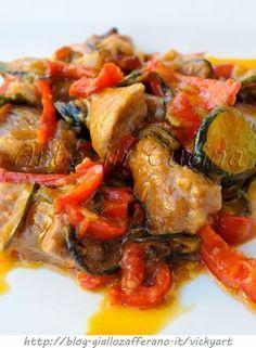 Tacchino con zucchine e peperoni in padella vickyart arte in cucina