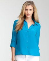 bebe Cropped Surplice Back Button Blouse