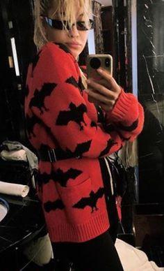 2ad365e5dab2d Rita Ora taking a mirror Selfie in a bat jacquard knitted Gucci Cardigan.  Celebrity Rita