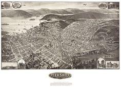 Peekskill New York 1911 36x54 Old Map Huge Westchester County   eBay