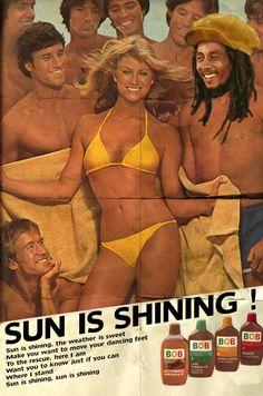 David Redon edits celebrities into vintage ads: Sun is shining / Bob Marley