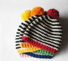 CROCHET PATTERN Black and white stripes and a pop of bright color make this super easy pattern a fun and quick gift for any occasion. This Crochet Baby Hats, Crochet Cap, Crochet Scarves, Crochet For Kids, Baby Beanie Crochet Pattern, Baby Knitting, Crochet Clothes, Knitted Hats, Crochet Patterns