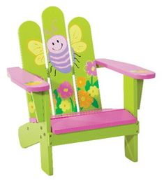 Images of Kids adirondack chairs plastic Kids' Adirondack Chairs Lawn Furniture, Rustic Furniture, Furniture Chairs, Funky Furniture, Furniture Design, Painted Chairs, Painted Furniture, Painted Dressers, Kids Adirondack Chair