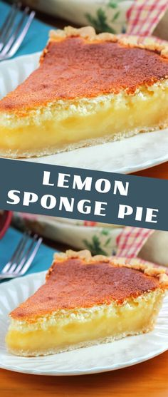 This Lemon Sponge Pie is an easy pie recipe with refreshing lemon flavor and light and airy texture. It makes a deliciously light treat. Lemon Desserts, Easy Desserts, Delicious Desserts, Desserts Keto, Cheesecake Desserts, Plated Desserts, Easy Pie Recipes, Baking Recipes, Cake Recipes