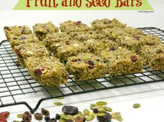 Fruit and Seed Bars {nut free} Vegans will need to substitute agave syrup for the honey. - BYH