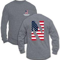 NORTHWESTERN® AMERICAN FLAG MOTIF LONG-SLEEVE TEE