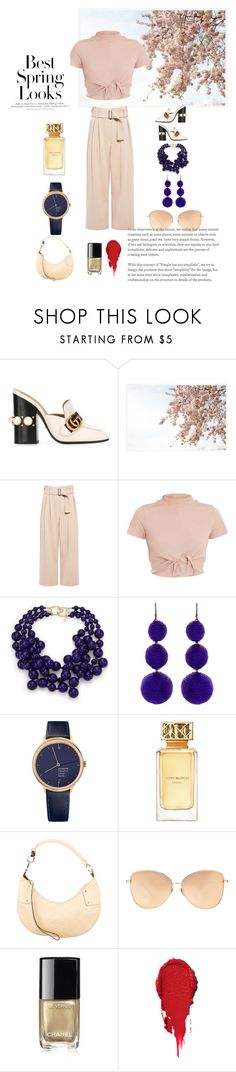 """""""Spring Fever"""" by dperfectwifey ❤ liked on Polyvore featuring Gucci, Pottery Barn, A.L.C., H&M, Kenneth Jay Lane, Mondaine, Tory Burch, Linda Farrow and Chanel"""