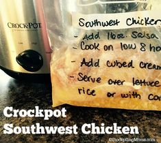 Crockpot Southwest Chicken - A delicious freezer meal and takes minutes to prepare.