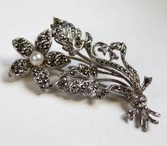 Vintage Marcasite Flower Brooch by PoppinsBoutique on Etsy