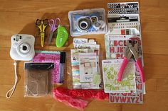 "jenni hufford's ""scrapbooking on the road"" supplies list  that she used for her travel mini-book!"
