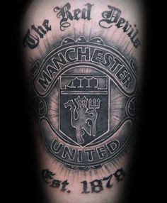 40 Manchester United Tattoo Designs For Men - Soccer Ideas # Manchester United Tattoo 40 Manchester United Tattoo Designs For Men - Soccer Ideas 3d Tattoos For Men, Bad Tattoos, City Tattoo, S Tattoo, Heart Tattoo Designs, Tattoo Sleeve Designs, Man Utd Tattoo, Chris Brown Tattoo
