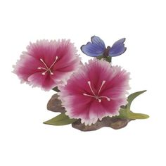 Andrea by Sadek ~ PINK DIANTHUS W/ BUTTERFLY ~ Handpainted Porcelain