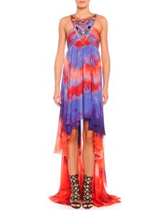 Tie-Dye Chiffon High-Low Halter Gown, Purple/Red Tie Dy - Emilio Pucci