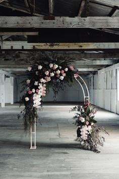 Melbourne warehouse wedding venue - the Gather & Tailor is perfect for brides looking for a blank space to create their dream wedding. Wedding Arch Flowers, Wedding Ceremony Backdrop, Floral Wedding, Wedding Backdrops, Marquee Wedding, Elegant Wedding, Flower Warehouse, Warehouse Wedding, Arco Floral