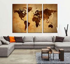 Piece World Map Canvas Print On Gray Background Large World Map - 3 piece world map wall art