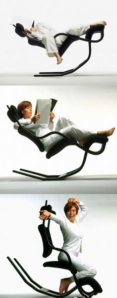"""Sit on this chair you won't fall, design by Norwegian Designer Peter Opsvik in 1983, named Gravity balans. """"It is not a chair, it is a way of life."""" Traditionally, people surround themselves with one kind of furniture for resting and another kind for performing activities. Why couldn't we alternate between these body postures on a single chair?:"""