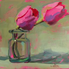 """Pink Tulips 8x8"""" Acrylic  Click to bid   My favorite flower, simple, elegant tulips. I'm teaching a """"How to Paint Fast, Loose and Bold""""..."""