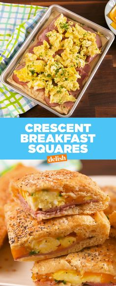Crescent Breakfast Squares Crescents eggs ham cheese chives garlic and butter Very easy breakfast brunch lunch weekend What's For Breakfast, Breakfast Dishes, Breakfast Recipes, Breakfast Crockpot, Breakfast Pizza, Cresent Roll Breakfast Casserole, Breakfast Enchiladas, Morning Breakfast, Crescent Roll Recipes