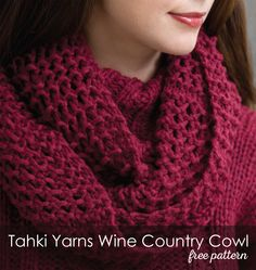 Wine Country Cowl in Tahki Yarns Aria. Discover more Patterns by Tahki Yarns at LoveKnitting. The world& largest range of knitting supplies - we stock patterns, yarn, needles and books from all of your favorite brands. Knit Or Crochet, Crochet Scarves, Double Crochet, Knitted Cowls, Knitting Scarves, Crochet Needles, Knit Cowl, Knitting Patterns Free, Free Knitting