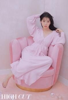 IU graces the cover of 'HIGH CUT' magazine. The singer-actress goes for a light pink concept that truly compliments her porcelain skin and beauty. Iu Fashion, Korean Fashion, Korean Actresses, Korean Actors, Ulzzang Girl, Korean Singer, Girl Crushes, Korean Girl, Seoul