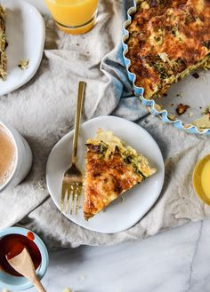 roasted broccolini, bacon and caramelized shallot quiche I howsweeteats.com