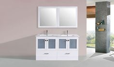 "60"" Hermosa White Double Modern Bathroom Vanity with Integrated Sinks #BathroomRemodel #BlondyBathHome #BathroomVanity  #ModernVanity"