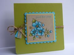 handmade card from My Sandbox ... olive with turquoise accents ... Bordering on Romance flowers ... luv the look of colored pecils on kraft! ... Stampin' Up!