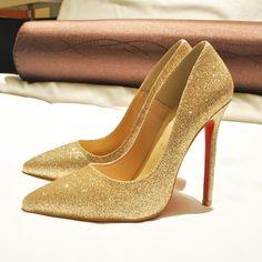 Gold Glitter High Heels Pumps shoes