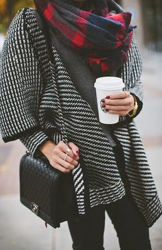 Oversized sweaters and warm drinks
