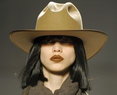 A model displays the fashion of Nicholas K during Fashion Week in New York.