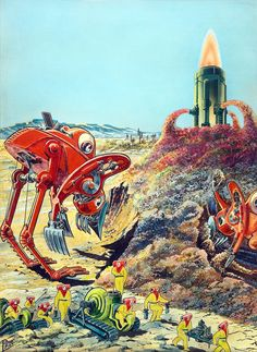 Original cover painting by Frank R. Paul from Science Wonder Stories pulp magazine, September 1929.