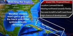 Invest 99L is located in the Leeward Islands and may become a tropical cyclone as it moves northwest this week. It is too soon to tell if this system will become a threat to the Gulf Coast, but we are in our climatological peak through September. Regardless of the eventual path of this system - you should take time to review your hurricane preparedness kit and local information. Learn more in our hurricane resource center at http://texasstormchasers.com/hurricanecenter/.