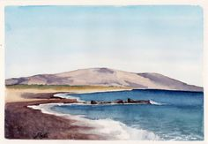 Affordable Art Initiative | Watercolor of the beach on Crete by artist Esther BeLer Wodrich