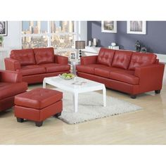 This contemporary living room set is upholstered in red bonded leather. It has comfortable seat and back. The seat and back are button tufted.