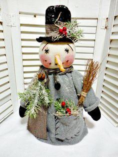 Handmade Primitive Christmas Winter  Snowman Doll.. All Sewn..No Gourd