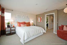 Master bedroom gray,orange and white