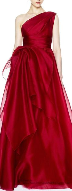 "MARCHESA;  love this ""lipstick red"" color for a formal gown"