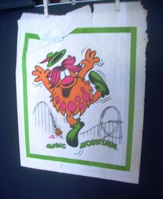 1981 Magic Mountain color PROMOTIONAL Gift Bag BLOOP the TROLL Colossus Coaster