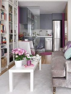 tiny spaces, living room and kitchen, grey and purple tones by grnmtn