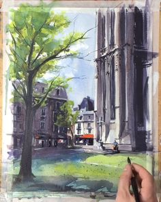 Townscape Watercolor Painting Demonstration Townscape Watercolor Painting Demonstration Tyl Destoop French Watercolor Paintings tyldestoop Townscapes Watercolor painting 41 x 31 cm of a nbsp hellip videos walls Cute Paintings, Watercolor Paintings, Watercolor Paper, Watercolor Artists, Indian Paintings, Abstract Paintings, Oil Paintings, Painting Art, Watercolour Drawings