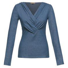 "Longsleeved knitted top ""Ivy"" with draped v-neckline in denim-blue - Lena Hoschek Workout Tops, V Neck Tops, Blue Denim, Ivy, Neckline, Tunic Tops, Long Sleeve, Sleeves, Cotton"